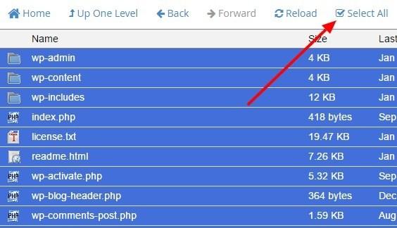 Klik select all dari menu file manager